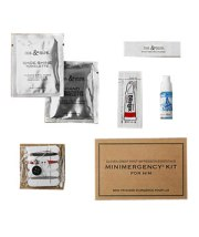 Minimergency Kit for HimFrom breath freshener to stain remover, this 15-piece kit can be tucked away in your guy's briefcase and will have him fully prepared for a day at the office or a weekend away with the boys.$15 restorationhardware.com