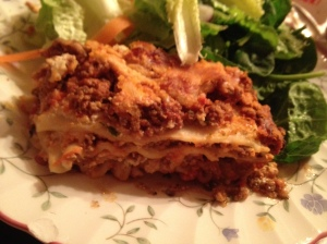 This lasagna is delicious with a salad on the side with garlic dijon salad dressing.