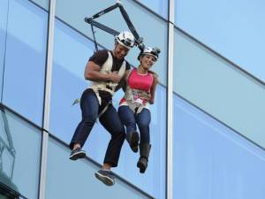 Sarah & Sean as they free fall 300 feet